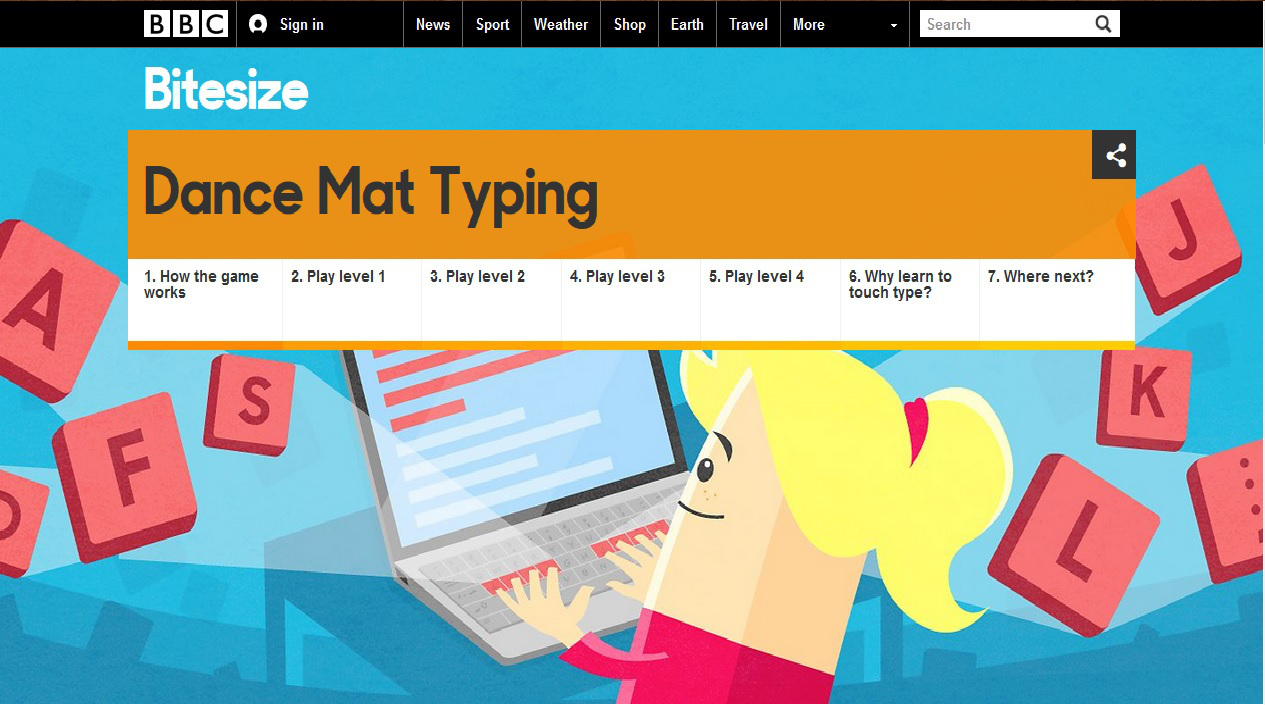 Dance Mat Typing Level 1 (Stage 1) - Learn Touch Typing ...