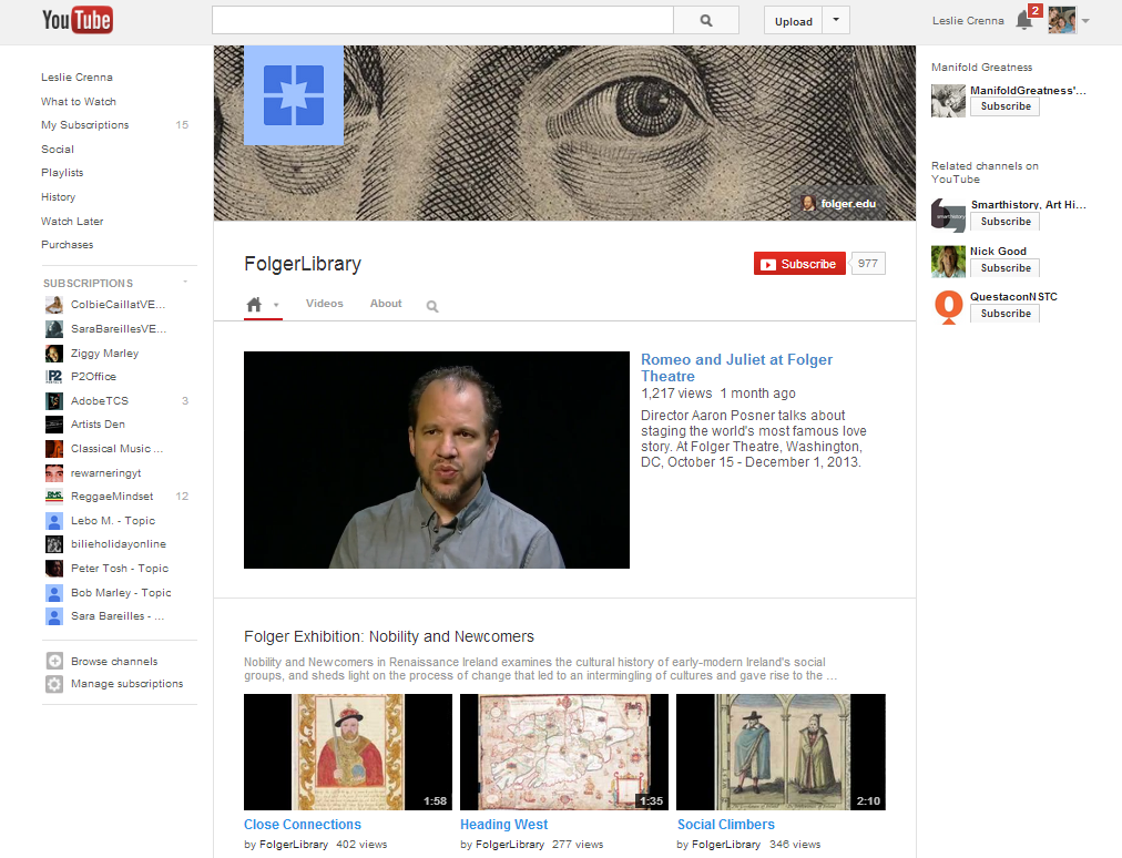 The Folger Library's YouTube channel is a popular place for analysis ...