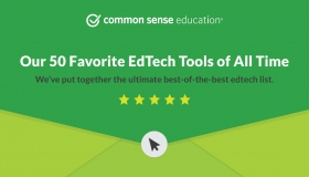A green envelope from Common Sense Education announcing Our 50 Favorite EdTech Tools of All Time: We've put together the ultimate best-of-the-best edtech list. Showing five stars for a review.