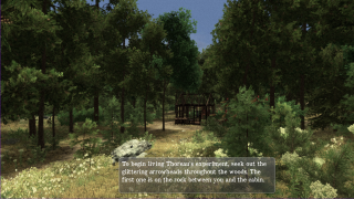 The game starts with a view of Thoreau's unfinished cabin.