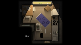 The game takes place in an apartment displayed from a top-down view.
