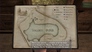 Thoreau keeps a journal, which serves as an in-game map, task log, and record of progress.