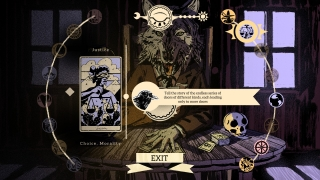 Trade stories through a tarot card-themed interface.