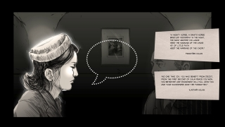 Some interviews include mini-games, like this one focused on deflecting a suitor with poetry.