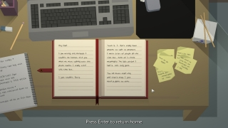 Time at the office is displayed from a first-person view of the protagonist's desk as they write in a diary addressed to their father.