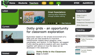 The teacher homepage offers a variety to starting points to support mathematical thinking.