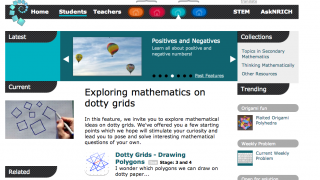 Students are met with a complex homepage offering many activities to build conceptual understanding.