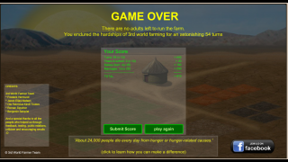 The game is over when there are no more adults on your farm.