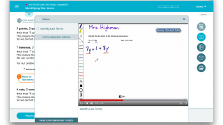 Digital whiteboard videos with narration offer additional support beyond the text.