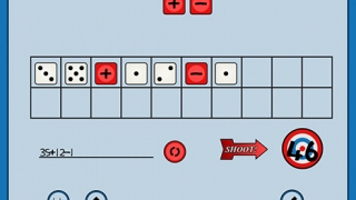 Kids drag dice and operation symbols into place to complete equations.