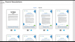 The parent dashboard offers newsletters and activities to send home for supplementary learning.