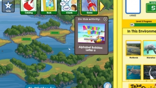 The Wetlands learning path invokes reading-related activities about a wetlands environment.