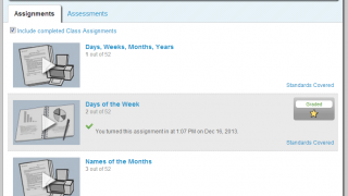 The student dashboard has assignment and assessment tabs, as well as lessons.