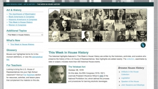 The site features info on how laws are made, what Congress is, its history, and its physical location at the Capitol.