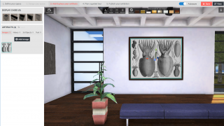 Place image and video artifacts on the walls, or 3D objects on the floor or a pedestal.