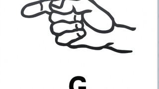 ASL flashcard shows the sign for the letter g.