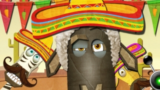 Several dress up options trigger scenery changes, like this fun fiesta.