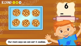 Cookie Muncher Subtraction lets players eat some of the cookies on the tray and then find how many are left.