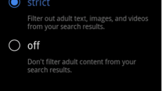 Safe search settings page accessed by selecting Settings from device-based menu.