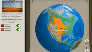 An interactive map shows kids the locations of various grasslands across Earth.