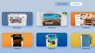 Choose from a variety of blank book formats or choose a template or theme.