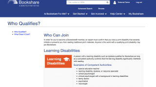 """Check the """"Is Bookshare for Me?"""" drop-down menu to see which learners qualify for Bookshare's services."""