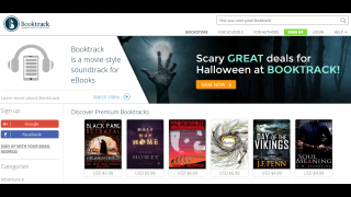 Booktrack home page includes genres and books to explore.