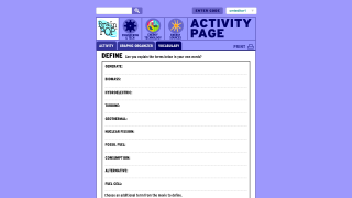 Matching vocabulary sheets support content, but most kids in this age group will need to pause and review.