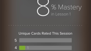 The mastery progress screens are colorful and encourage students to keep going.