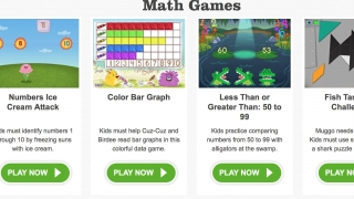 A list of math games available for free, organized by grade and math topic.