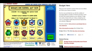 Students choose badges for three issues they feel are important, which helps personalize the allocation decisions they make during the game.