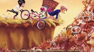 The story includes interactive elements, like pushing bikes into the dump.