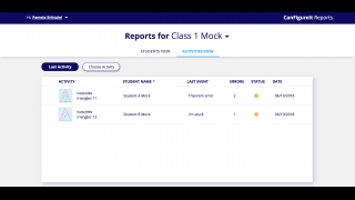 Teachers can monitor student progress from the Reports dashboard.