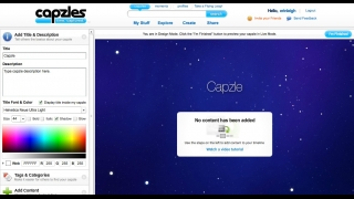 The creation tool walks users through the steps of setting up a new Capzle.