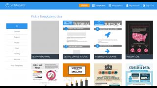 Venngage is a web-based design tool for creating infographics. First, users pick a template.