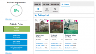 When logged in, students can search the college database and save searches and results.