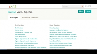 Algebra resources are organized by topic and sub-topic.
