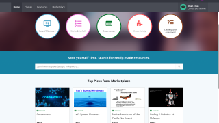 The start page lets teachers launch instant activities or search the Marketplace.