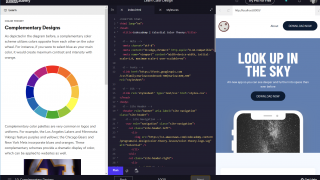 A divided screen includes lesson, workspace, and output.