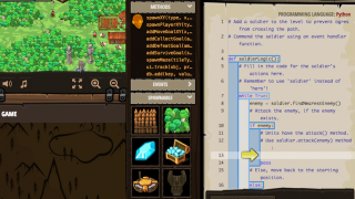 Players fill in the missing lines of code to control characters and modify the game.