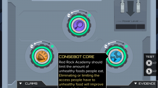 """The game offers built-in tutorials for assembling argubot """"cores,"""" which consist of a claim and a supporting piece of evidence."""