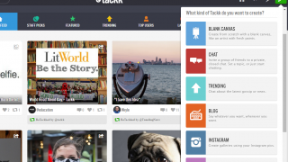 Users can create a range of types of Tackks, including galleries and chats.