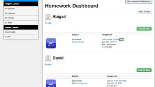 Parents can view assignments for all their children with a single login.