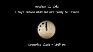 """The Doomsday Clock ticks forward and back at the end of each """"day,"""" illustrating the user's overall progress."""
