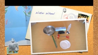 In one experiment, kids use common household items to make a model of a water wheel.