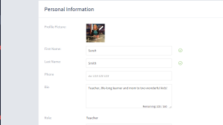 Students and teachers can customize their user profile and preferences for receiving notifications.