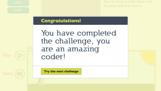 The game offers positive feedback for successful coding.
