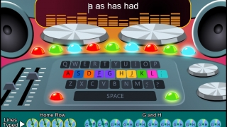 Applicable keys are colored on the on-screen keyboard, with each stage having its own theme.