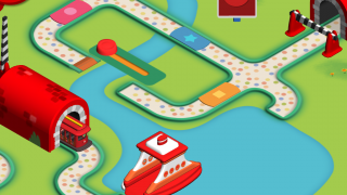 Familiar trolley moves kids through the app's activities.