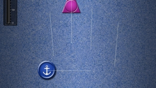 In Tap It, kids keep a thumb on the anchor and tap triangles that appear.